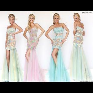 Sherri Hill - elegant Purple High Low Prom Dress